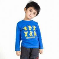 China Boys' Kids' T-shirt, Children's T-shirt Design, Printed in the Front, Long Sleeved, Customizable on sale