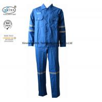 Best Cotton Blue Fireproof Boiler Suit With Reflective Trim Anti Static 240gsm wholesale