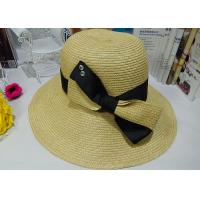 Best Fashion Womens Sun Hats With Bowknot Flower , Leisure Wide Brim Sun Hat wholesale