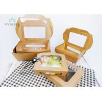 Best Deli / Street Food Kraft Paper Take Out Boxes , Windowed Disposable Salad Boxes wholesale