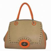 Best Synthetic Leather Lady Handbags With Detachable Strap , Everyday Use Brown Zipper Bags wholesale