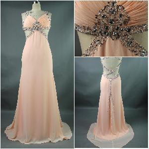 Best New Arrived 2012 Beautiful Straps Sheath Beaded Chiffon Fashionable Prom Dress (PD-011) wholesale