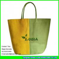 Best LUDA yellow and green striped tote bag promotion cheap paper straw bag wholesale
