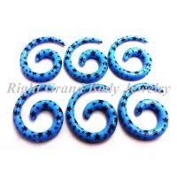 Best Blue Acrylic Ear Stretching Spiral Taper Star Print For Party wholesale