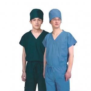 Non - Woven Disposable Scrub Suits , Short Sleeves Royal Blue Womens Scrubs