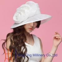 Best White Organza Hats For Women With Big Organza Flower Trimming wholesale