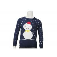 Best Custom Womens Ugly Christmas Sweater Acrylic Jacquard Knitted Navy Colour O Neck wholesale