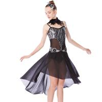 Best MiDee Lyrical Dress Modern Dance Costumes Heavy Sequins Silver/Back With Feather Neck Wear For Solo Performance wholesale