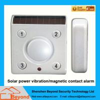 Solar power vibration/magnetic contact alarm with rechargeable Li-Ion backup batter