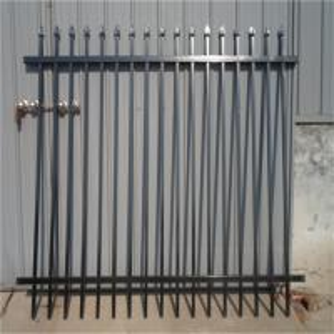 China 2.4m X 2.4m SHS 65mm Tube Black Garrison Garden Fence Panels Security Spear Top Tubular Steel Fencing on sale