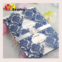 Best Elegant handmade various colors laser cutting lace wedidng invitation card design with ribbon and buckle wholesale