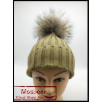 Best Red Knitted Fashion Cheap Winter Hats Raccoon Fur Ball Hats for Women wholesale