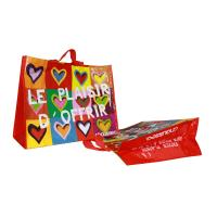 Best Coloful PP Woven Shopping Bags Heart Pattern 120gsm Shining Coated Cylinder Printing wholesale