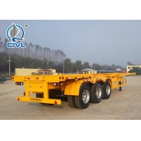 China 3 Axle 2 x 20ft / 40ft 12500mm Flatbed Container Semi Trailer / Trailer Chassis on sale