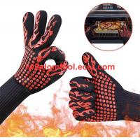 Best Amazon Suppliers Kitchen Oven Extreme Heat Resistant Gloves, Silicone BBQ Gloves For Grill Gloves EN407 CE wholesale