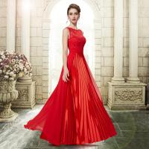 Best Red Chiffon Sleeveless Celebrity Prom Dresses / Satin Pleated Evening Dresses wholesale