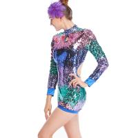 Cheap MiDee Full Sequins Ombre Neon Color Sequined Long Sleeve Dance Biketard Jazz for sale