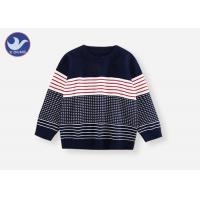 Best Boys Crew Neck Sweater , Boys Red And Black Striped Jumper Comfortable Multi - Colored wholesale