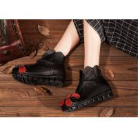 China low heel fashion womens ankle boots with flower , black leather ankle boots on sale
