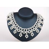 Best 18 Inch Cream White Handcrafted Pearl Jewelry , Flower Fringe Silver And Pearl Jewellery wholesale