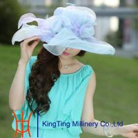 Best Lady Yellow Fashion Organza Hats Summer For Special Occassion wholesale