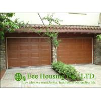 Galvanized steel Sectional remote-controlled garage door For Condos, Wood color
