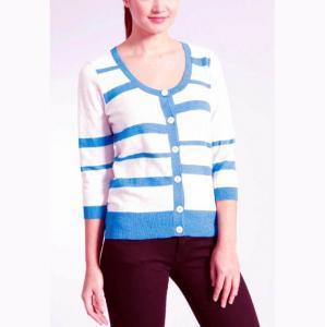 Best Stripe Slub Yarn Knit Cardigan Sweater 100 Cotton Material Careful Washing wholesale