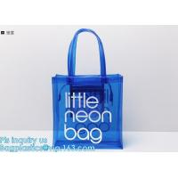 China pvc gift bag / transparent shopping bag / wholesale china pvc handbags, PVC coated shopping bag, rope handle clear pvc b on sale
