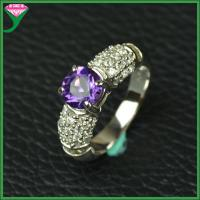 Best Good prong setting 925 sterling silver genuine amethyst finger gemstone Wedding Ring wholesale