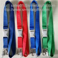 China Dye coloured neck ribbon strap lanyard with dye colored plastic release buckle, on sale