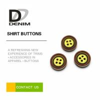 China Yellow Pearl Dress Shirt Buttons , Commercial Four Hole Button In Bulk on sale