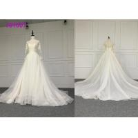 Best Crystal A Line Ball Gown Wedding Dress / Tulle Long Sleeve Ball Gown Wedding Dress wholesale