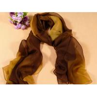 China 2013 new fashion yellow and brown gradient color Hand Painted Silk Scarf/chiffon scarves shawls on sale