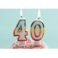 Glitter Number Birthday Candles , 40th Anniversary Cake Candles Food Grade