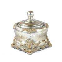 Best Square Anniversaries Resin Trinket Box Antique Silver Embellished With Gold wholesale