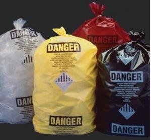 Best custom printed jumbo plastic garbage packaging plastic asbestos waste bag, poly asbestos warning printed burial bags wholesale