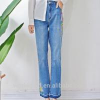 Best Embroidered Women Denim Wide Leg Pants , Girls Loose Fit Jeans Breathable wholesale