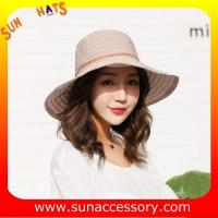 Best AK17592 fashion Wide brim sunny beach foldable summer straw hats for womens in stock , promotion cheap hats . wholesale