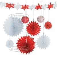 Best Christmas Snowflake Paper Fan Round Folding Fans Hanging Party Home Decorations wholesale