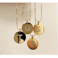 China Fashion Style 18K Gold Jewelry Beaded Chain Necklace With Letter Diamond Pendant on sale