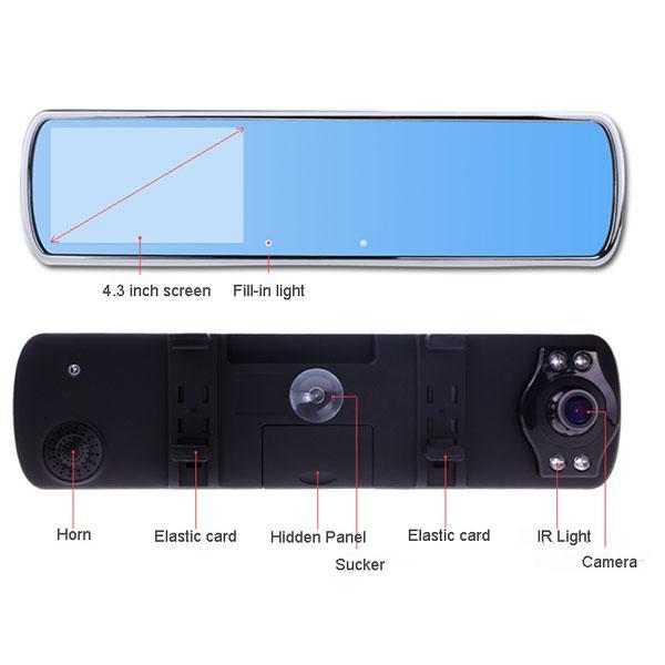 Cheap DV700D Car Rearview Mirror Camera Super Night Vision HD 1280*720P 140 Degree Wide Angle Lens G-Sensor DVR Dual Lens for sale