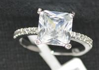Best Non Allergic Luxury Silver Wedding Rings With 7mm Square Cubic Zirconia wholesale