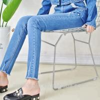 Best Women Mid Waisted Distressed Skinny Jeans With Pearls OEM ODM Service wholesale