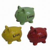 Best Piggy Money Boxes with 3 Different Wording on Body, Made of Ceramic Glaze Color Processing wholesale