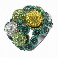 Best Silver Ring with Crystals, Available in Rhodium, Gold, Rose Gold, and Other Platings wholesale