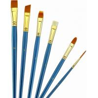 Cheap Wooden Handle Golden Synthetic Paint Brush Sets , Interlocked Fine Bristle Paint Brushes for sale
