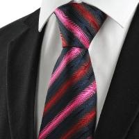 China Striped Red Pink Black Men's Tie Necktie Wedding Party Holiday Groom Gift #1044 on sale