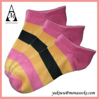 China Pink Yellow and Black Striped Low Cut Cotton Ankle Socks on sale