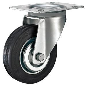 Best Loading Capacity 100kg Medium Duty 125mm Soft Black Rubber Swivel Castor Industrial Multipurpose Trolley Caster Wheel wholesale