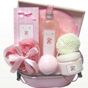 Best Rose Fragrance Spa Bubble Bath Gift Set in Tin Box with Bath Fizzer 150g 9pc Rose Petal wholesale